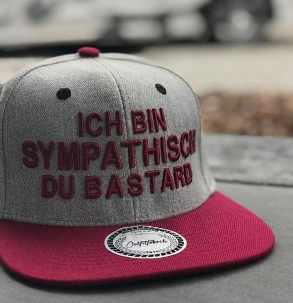 Snapback Cap BASTARD, grau/bordeaux