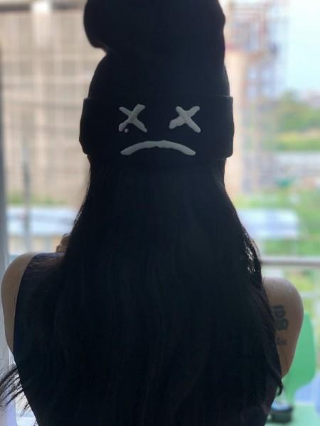 Beanie Smiley BAD xx( leuchtet im Dunkeln, schwarz