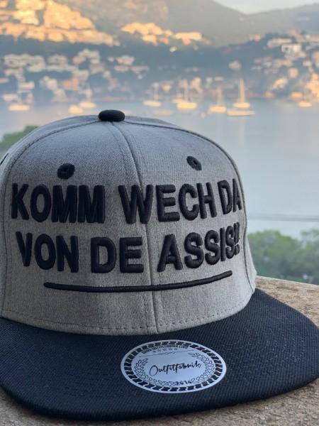 Snapback Cap KOMM WECH DA, grau/schwarz