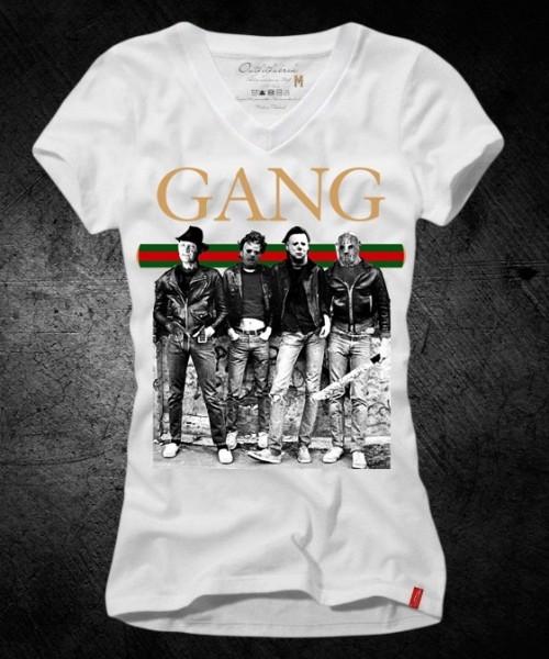 Frauen-Shirt GANG, weiß mit V-Ausschnitt