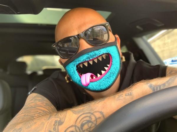 Nasen-Mund-Maske MONSTER BLAU, schwarz