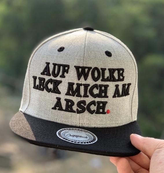 Snapback Cap AUF WOLKE LECK MICH AM ARSCH, grau/schwarz