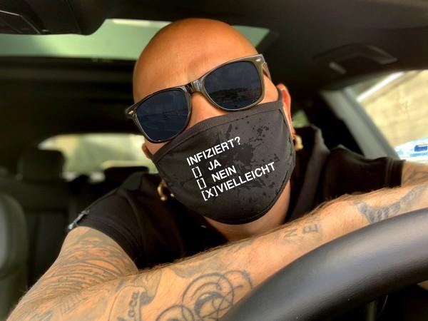 Nasen-Mund-Maske INFIZIERT, schwarz