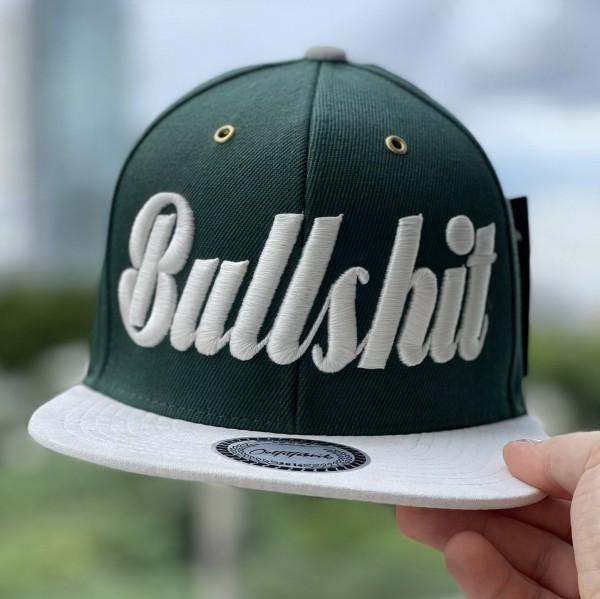 Snapback Cap BULLSHIT, grün/weiß
