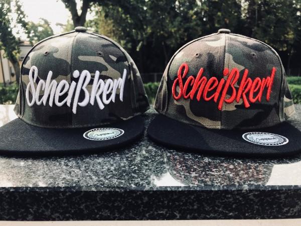 Snapback Cap SCHEISSKERL, camo-rot oder camo-weiß