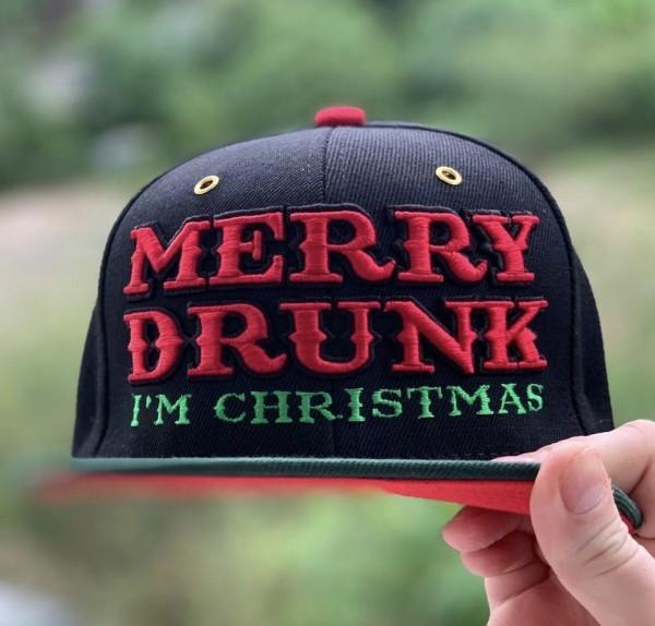 Cap MERRY DRUNK I´M CHRISTMAS, schwarz/rot/grün