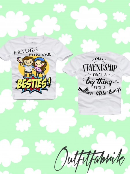 Kindershirt BESTIES, GIRL / BOY, weiß