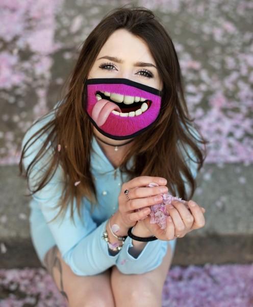 Nasen-Mund-Maske MONSTER PINK, schwarz
