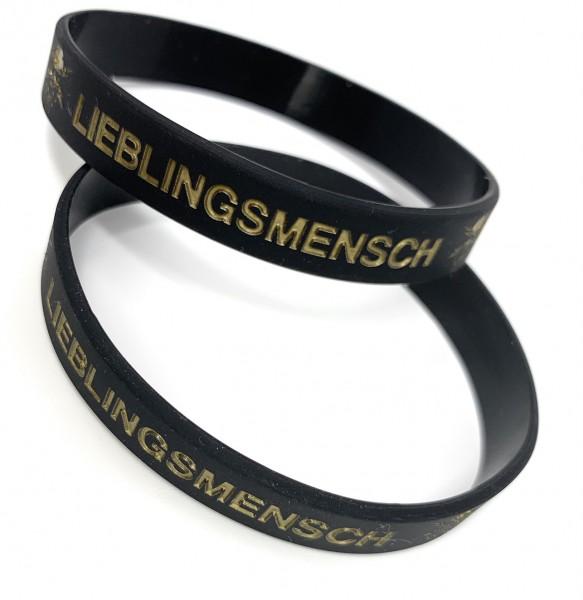 """1 Silikonarmband """"LIEBLINGSMENSCH"""" schwarz/gold"""