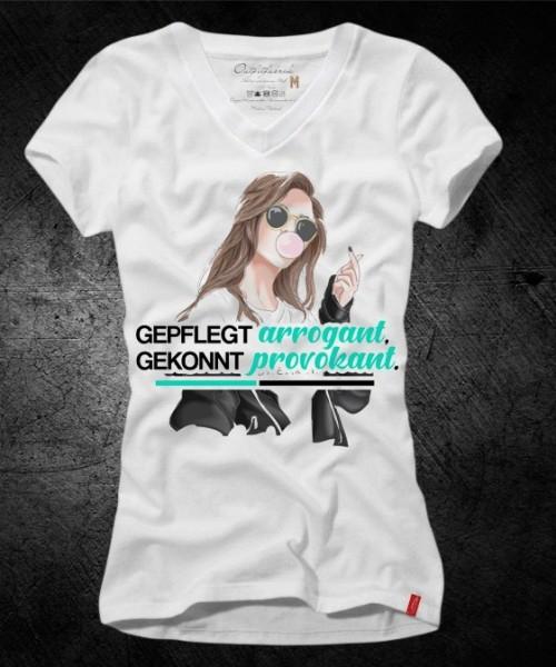 Frauen-Shirt GEPFLEGT ARROGANT, GEKONNT PROVOKANT, weiß mit V-Ausschnitt