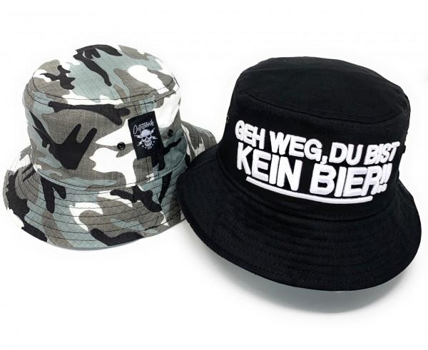 Wende-Bucket-Hat / Anglerhut GEH WEG DU BIST KEIN BIER, 3D-Stick