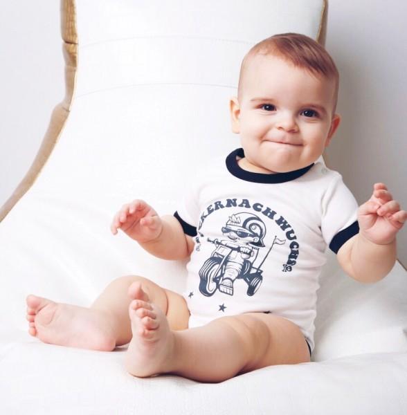 BABY Strampler - ROCKERNACHWUCHS, weiß/schwarz