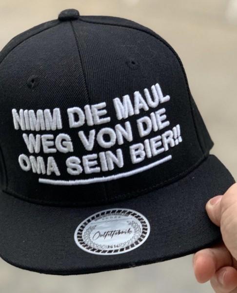 Snapback Cap NIMM DIE MAUL WEG, schwarz