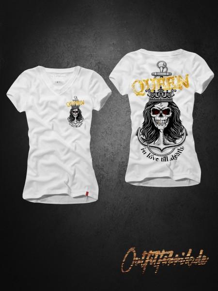 Frauen-Shirt QUEEN - ANCHOR, weiß mit V-Ausschnitt