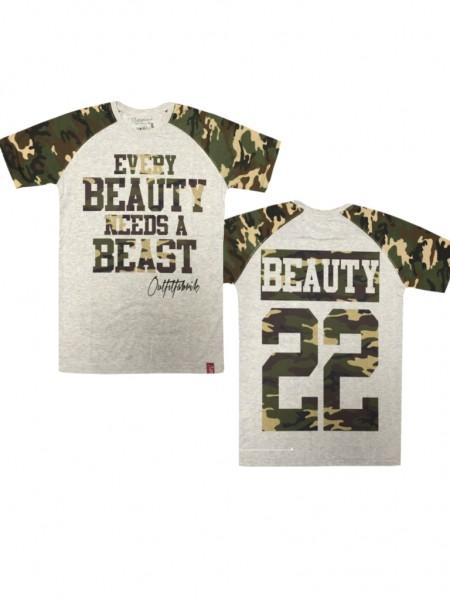 Shirt BEAUTY, grau melange/camouflage