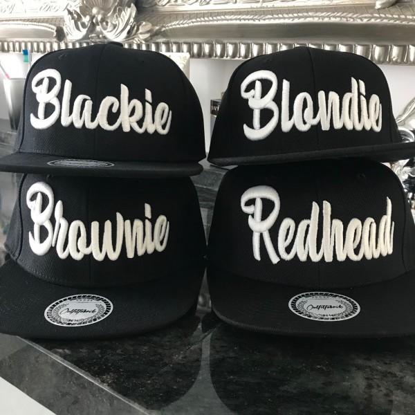 Snapback Cap BLONDIE, BROWNIE, REDHEAD oder BLACKIE, schwarz