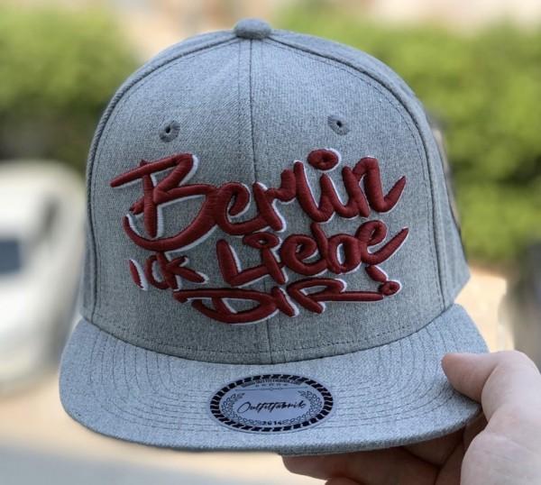 Snapback Cap BERLIN ICK LIEBE DIR, grau