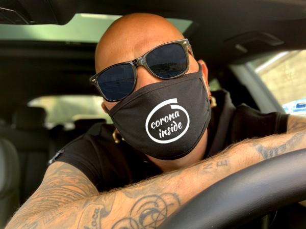Nasen-Mund-Maske CORONA INSIDE, schwarz