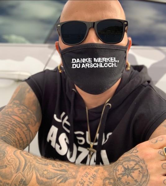 Nasen-Mund-Maske DANKE MERKEL, schwarz