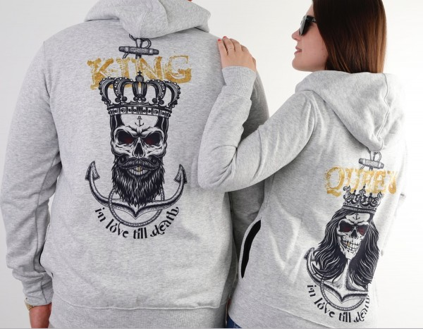Hoodie, KING oder QUEEN, ANCHOR grau