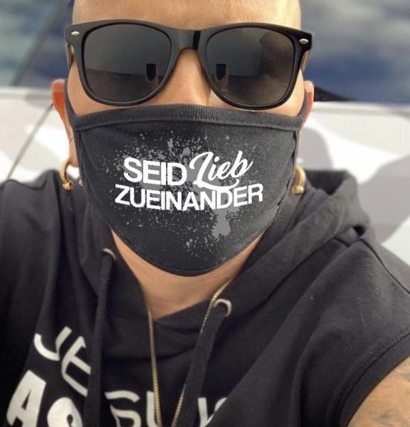 Nasen-Mund-Maske SEID LIEB ZUEINANDER, schwarz