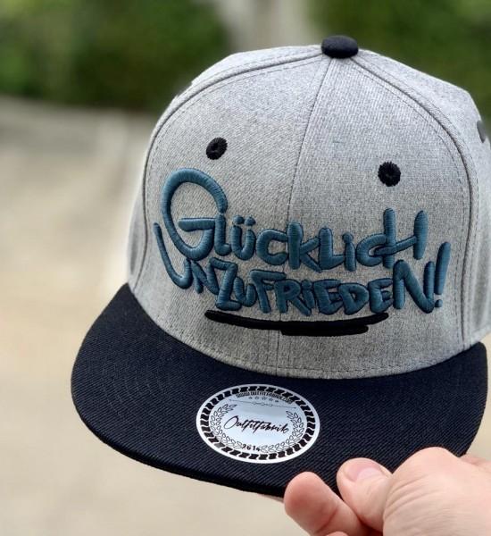 Snapback Cap GLÜCKLICH UNZUFRIEDEN, grau/schwarz