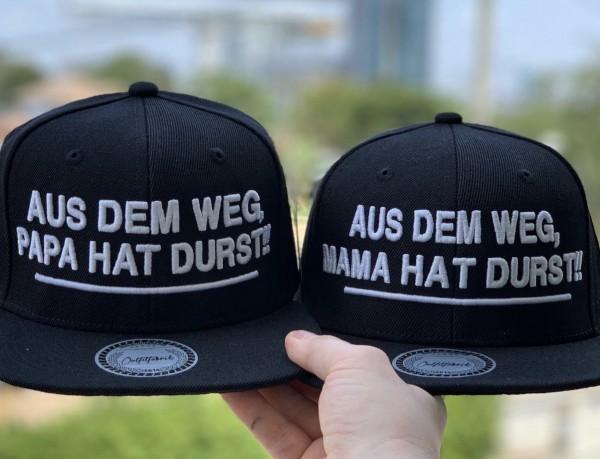 Snapback Cap PAPA oder MAMA HAT DURST, schwarz
