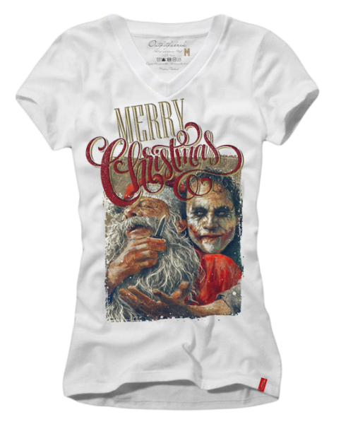Girls-Shirt JOKER XMAS (Weihnachten, Christmas), weiß