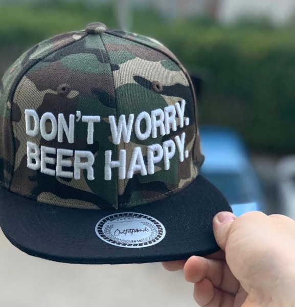 Snapback Cap DON´T WORRY BEER HAPPY, camouflage/schwarz