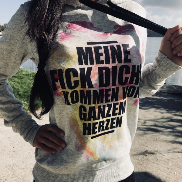 Hoodie, MEINE FICK DICHs..., grau/schwarz