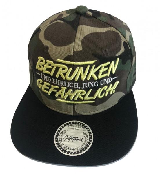 Snapback Cap BETRUNKEN, camouflage