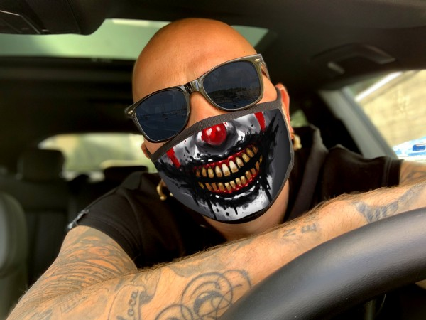 Nasen-Mund-Maske HORROR CLOWN, schwarz