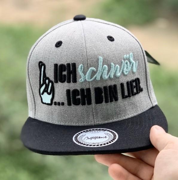 Snapback Cap ICH SCHWÖR... ICH BIN LIEB , grau/schwarz