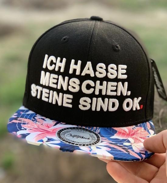 Snapback Cap ICH HASSE MENSCHEN, STEINE SIND OK, flower