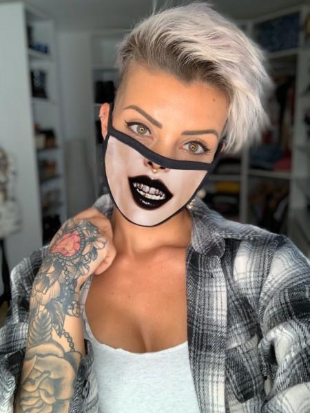 Nasen-Mund-Maske MUND BLING BLING, schwarz