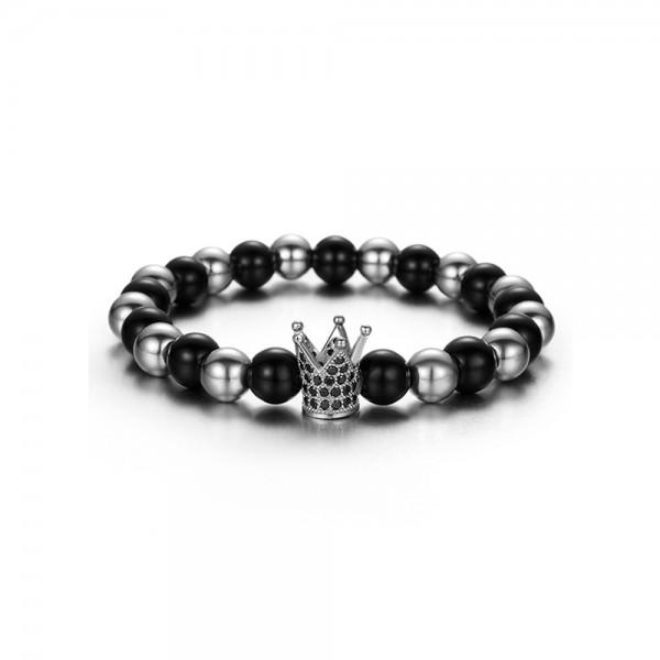 Armband - Krone schwarz/silberfarben