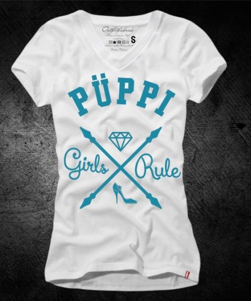 Frauen-Shirt PÜPPI - GIRLS RULE, weiß-mint mit V-Ausschnitt