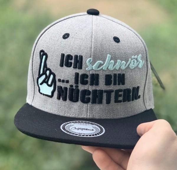 Snapback Cap ICH SCHWÖR... ICH BIN NÜCHTERN , grau/schwarz