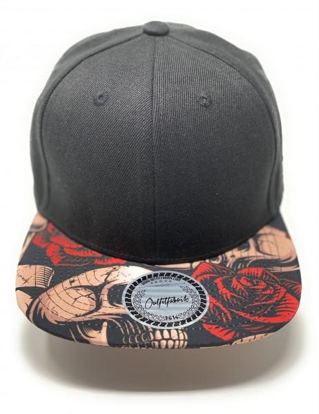 Cap BLANKO schwarz, Schirm mit Motiv Skullrose