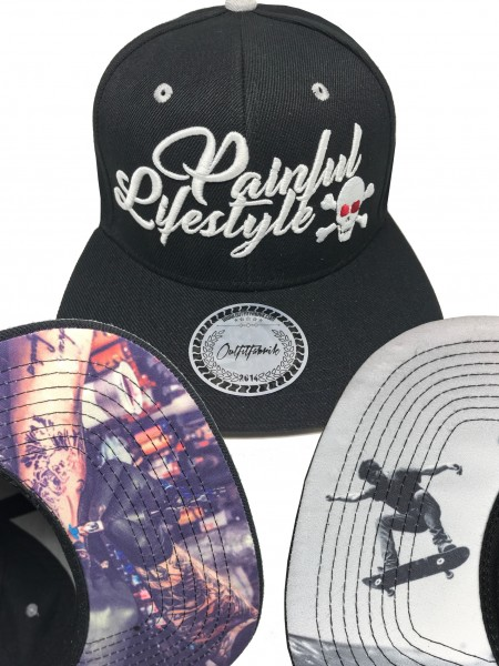 Snapback Cap PAINFUL LIFESTYLE, SKATE oder TATTOO, schwarz