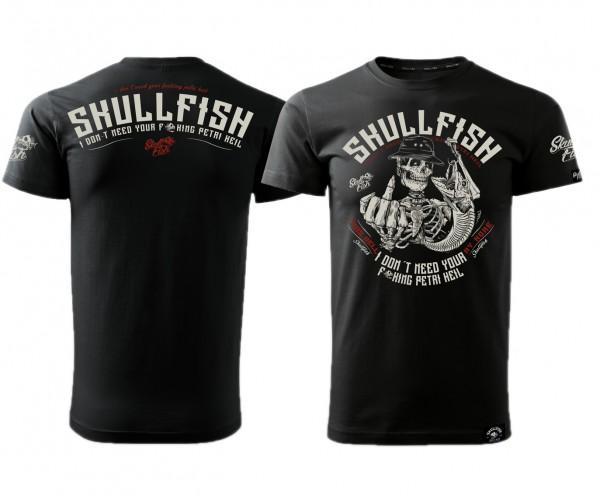 "Shirt ""Skullfish - Petri Heil"" in schwarz"